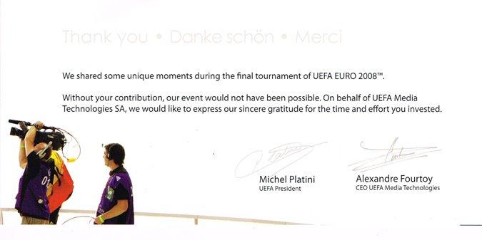 Die UEFA bedankt sich bei uns